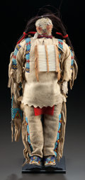 American Indian Art:Beadwork and Quillwork, A SIOUX BEADED HIDE MALE DOLL. c. 1900...