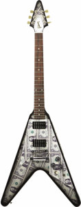 """Musical Instruments:Electric Guitars, 2007 Gibson USA Flying V with Custom """"Almighty Dollar"""" Finish. In the tradition of flashy Rock and Roll guitars, nothing is ... (Total: 1 Pieces Item)"""