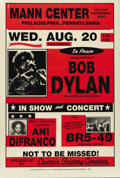 "Music Memorabilia:Posters, Bob Dylan Mann Center Concert Poster (1996). Bob Dylan is showcasedin this poster for a ""not to be missed"" event, co-starr... (Total:1 Item)"