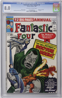 Fantastic Four Annual #2 (Marvel, 1964) CGC VF 8.0 Off-white to white pages. First detailed origin of Doctor Doom. Jack...