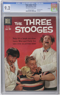 Four Color #1127 The Three Stooges - File Copy (Dell, 1960) CGC NM- 9.2 Off-white to white pages. Photo and skull cover...