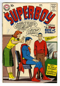 Silver Age (1956-1969):Superhero, Superboy #63 (DC, 1958) Condition: VF. Curt Swan, Creig Flessel, and Henry Boltinoff art. Overstreet 2006 VF 8.0 value = $10...