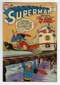 Silver Age (1956-1969):Superhero, Superman #123 (DC, 1958) Condition: VG+. Pre-Supergirl tryout cover and story. Curt Swan cover. Dick Sprang art. Water stain...