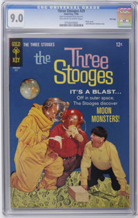 Three Stooges #29 File Copy (Gold Key, 1966) CGC VF/NM 9.0 Off-white to white pages. Photo cover. Little Monsters backup...