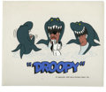 "Animation Art:Presentation Cel, Droopy Presentation Cel Original Art (MGM, 1980). ""You know what?""Droopy finds himself surrounded by a trio of hungry shark..."
