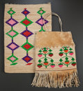 American Indian Art:Baskets, TWO PLATEAU TWINED CORNHUSK BAGS. c. 1900 and 1910... (Total: 2Items)