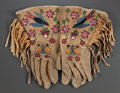 American Indian Art:Beadwork and Quillwork, A PAIR OF PLATEAU EMBROIDERED HIDE GAUNTLETS...