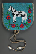 American Indian Art:Beadwork and Quillwork, A PLATEAU PICTORIAL BEADED LEATHER BELT POUCH. c. 1910...