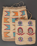 American Indian Art:Baskets, TWO PLATEAU TWINED CORNHUSK BAGS. c. 1900... (Total: 2 )