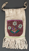 American Indian Art:Beadwork and Quillwork, A PLATEAU BEADED HIDE DRAWSTRING POUCH. c. 1920...