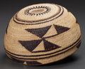American Indian Art:Baskets, A NORTHERN CALIFORNIA TWINED MAIDEN'S CAP...