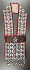 American Indian Art:Beadwork and Quillwork, A POTAWATOMIE BEADED CLOTH BANDOLIER BAG. c. 1901...
