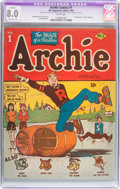 Golden Age (1938-1955):Humor, Archie Comics #1 (MLJ, 1942) CGC Apparent VF 8.0 Extensive (P) White pages....