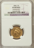 Three Dollar Gold Pieces: , 1866 $3 -- Damaged -- NGC Details. XF. NGC Census: (1/155). PCGSPopulation (9/131). Mintage: 4,000. Numismedia Wsl. Price ...