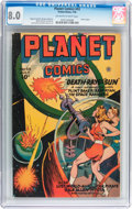 Golden Age (1938-1955):Science Fiction, Planet Comics #43 (Fiction House, 1946) CGC VF 8.0 Off-white towhite pages....