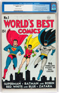 Golden Age (1938-1955):Superhero, World's Best Comics #1 (DC, 1941) CGC FN/VF 7.0 Off-white to white pages....