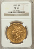 Liberty Double Eagles: , 1874-S $20 AU53 NGC. NGC Census: (174/2261). PCGS Population(116/948). Mintage: 1,214,000. Numismedia Wsl. Price for probl...