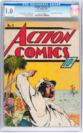 Golden Age (1938-1955):Superhero, Action Comics #3 (DC, 1938) CGC FR 1.0 Off-white to white pages....
