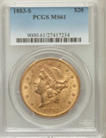 Liberty Double Eagles: , 1883-S $20 MS61 PCGS. PCGS Population (472/894). NGC Census:(704/491). Mintage: 1,189,000. Numismedia Wsl. Price for probl...