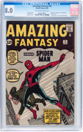 Silver Age (1956-1969):Superhero, Amazing Fantasy #15 (Marvel, 1962) CGC VF 8.0 Off-white to whitepages....
