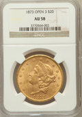 Liberty Double Eagles: , 1873 $20 OPEN 3 AU58 NGC. NGC Census: (2221/3711). PCGS Population(716/2853). Mintage: 1,709,825. Numismedia Wsl. Price fo...