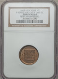 Civil War Merchants, 1863 Peter Warmkessel, New York, NY -- Overstruck on an 1863 Cent-- MS64 NGC. Fuld-NY630BZ-1do, R.9....
