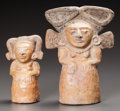 Pre-Columbian:Ceramics, TWO MAYA MOLD MADE FIGURES. c. 600 - 800 AD... (Total: 2 Items)