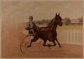 Books:Prints & Leaves, [Horse-Drawn Racing Rig]. 19th Century Color Print. Gray Litho, ca.1897. Measures 14.5 x 20.5 inches. Toning with edge tear...