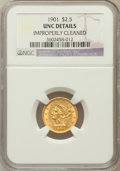 Liberty Quarter Eagles: , 1901 $2 1/2 -- Improperly Cleaned -- NGC Details. Unc. NGC Census:(17/2139). PCGS Population (32/1787). Mintage: 91,100. N...