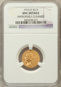 Indian Quarter Eagles: , 1914-D $2 1/2 -- Improperly Cleaned -- NGC Details. Unc. NGCCensus: (136/8291). PCGS Population (102/4043). Mintage: 448,0...