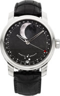Timepieces:Wristwatch, Martin Braun Selene New Steel Moon Phase Calendar With Meteorite Dial, Ref. FC44-M. ...