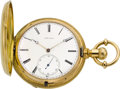 Timepieces:Wristwatch, Charles Jacot 18k Gold Patent Lever Hunters Case, circa 1880. ...