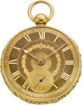 Timepieces:Pocket (pre 1900) , Robert Roskell Liverpool 18k Gold Rack Lever Fusee, circa 1800. ...