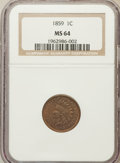 Indian Cents: , 1859 1C MS64 NGC. NGC Census: (6/2). PCGS Population (597/165).Mintage: 36,400,000. Numismedia Wsl. Price for problem free...