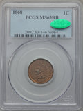 Indian Cents: , 1868 1C MS63 Red and Brown PCGS. CAC. PCGS Population (100/319).NGC Census: (41/262). Mintage: 10,266,500. Numismedia Wsl....