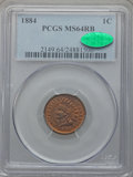 Indian Cents: , 1884 1C MS64 Red and Brown PCGS. CAC. PCGS Population (228/77). NGCCensus: (130/138). Mintage: 23,261,742. Numismedia Wsl....