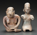 Pre-Columbian:Ceramics, TWO SEATED JALISCO FEMALE FIGURES. c. 200 BC - 200 AD... (Total: 2Items)