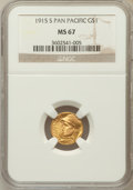 Commemorative Gold: , 1915-S G$1 Panama-Pacific Gold Dollar MS67 NGC. NGC Census: (63/0).PCGS Population (53/0). Mintage: 15,000. Numismedia Wsl...