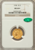 Indian Quarter Eagles, 1928 $2 1/2 MS64+ NGC. CAC. NGC Census: (2640/452). PCGS Population(1470/299). Mintage: 416,000. Numismedia Wsl. Price for...