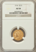Indian Quarter Eagles: , 1914 $2 1/2 AU58 NGC. NGC Census: (1476/5693). PCGS Population(660/2367). Mintage: 240,000. Numismedia Wsl. Price for prob...