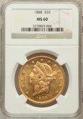 Liberty Double Eagles: , 1888 $20 MS60 NGC. NGC Census: (192/550). PCGS Population(132/451). Mintage: 226,100. Numismedia Wsl. Price for problemfr...