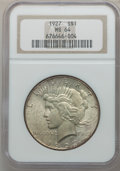 Peace Dollars: , 1927 $1 MS64 NGC. NGC Census: (969/121). PCGS Population(1692/293). Mintage: 848,000. Numismedia Wsl. Price for problemfr...