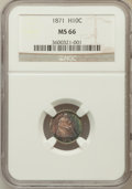Seated Half Dimes: , 1871 H10C MS66 NGC. NGC Census: (19/3). PCGS Population (21/1).Mintage: 1,873,960. Numismedia Wsl. Price for problem free ...