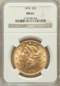 Liberty Double Eagles: , 1878 $20 MS61 NGC. NGC Census: (467/297). PCGS Population(296/322). Mintage: 543,645. Numismedia Wsl. Price for problemfr...