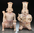 Pre-Columbian:Ceramics, A LARGE JALISCO SEATED COUPLE. c. 200 BC - 200 AD... (Total: 2Items)