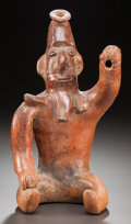 Pre-Columbian:Ceramics, A LARGE SEATED COLIMA FIGURE WEARING NECKLACE. c. 200 BC - 200AD...