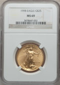 Modern Bullion Coins: , 1998 G$25 Half-Ounce Gold Eagle MS69 NGC. NGC Census: (591/15). PCGS Population (569/5). Numismedia Wsl. Price for problem...