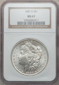 Morgan Dollars: , 1881-S $1 MS67 NGC. NGC Census: (3988/196). PCGS Population(1613/100). Mintage: 12,760,000. Numismedia Wsl. Price for prob...