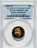 Modern Issues, 1997-W G$5 Jackie Robinson Gold Five Dollar PR69 Deep Cameo PCGS.Ex: US Vault Collection. PCGS Population (1663/134). NGC ...