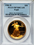 Modern Bullion Coins: , 1988-W G$50 One-Ounce Gold Eagle PR70 Deep Cameo PCGS. PCGSPopulation (314). NGC Census: (975). Mintage: 87,133. Numismedi...